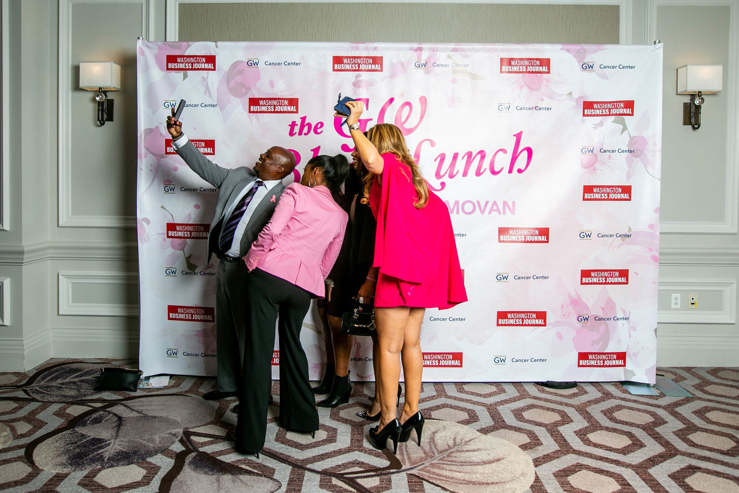 blush lunch attendees take selfies