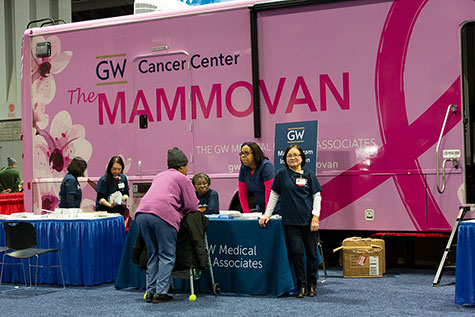 The GW Cancer Center Mammovan behind Booth